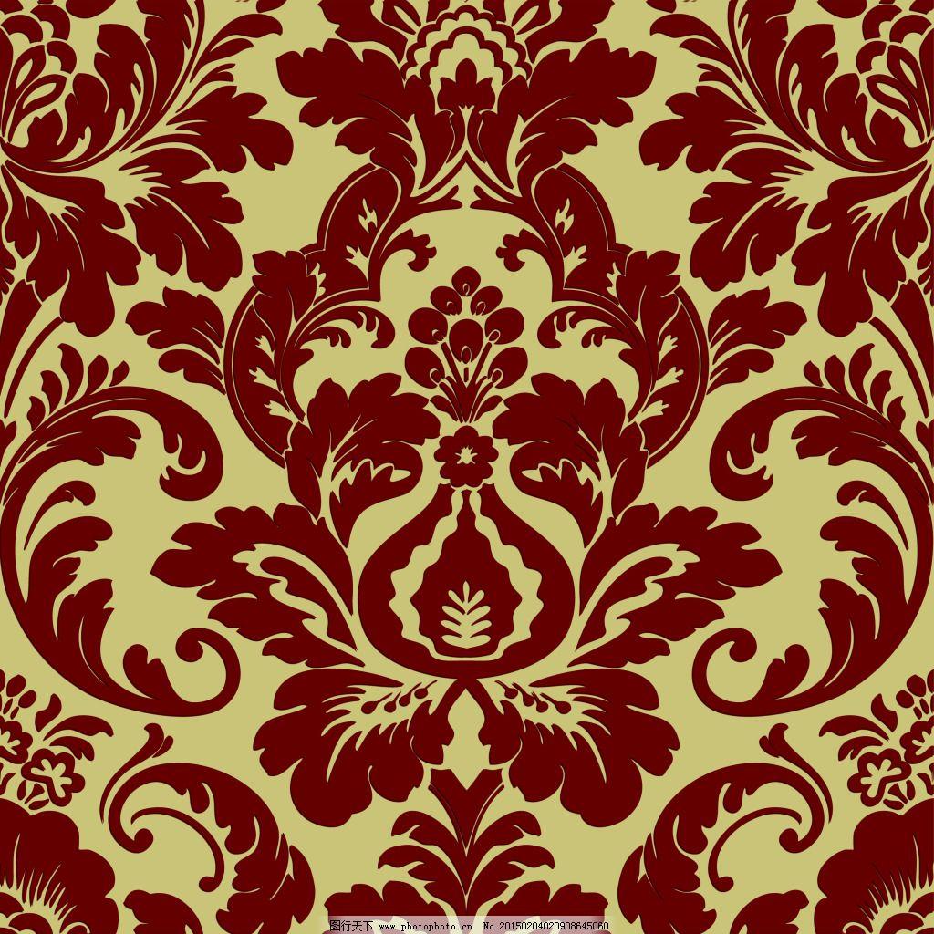 红色古典欧式大马士革花壁纸素材