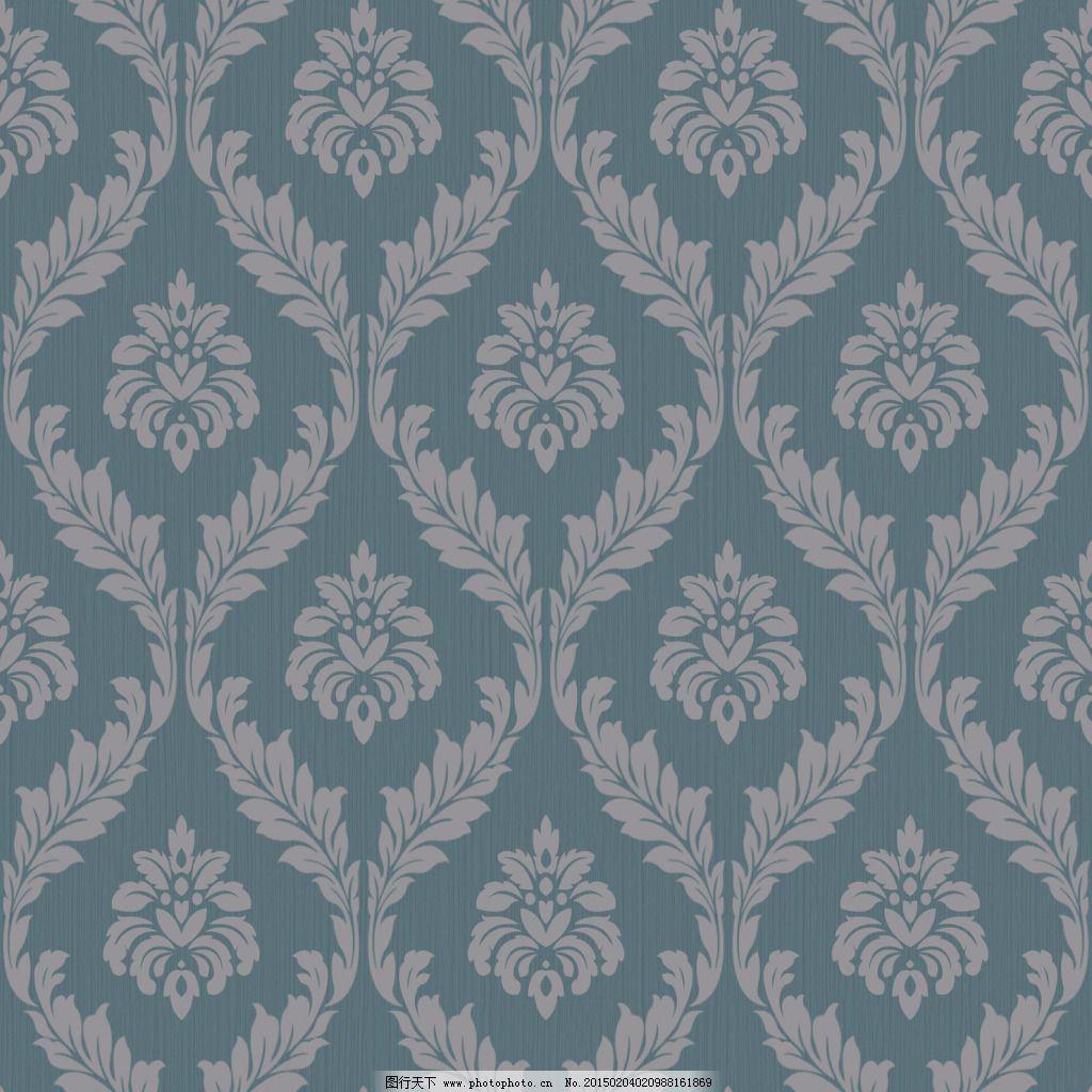 欧式蓝色菱形大马士革壁纸背景素材图片