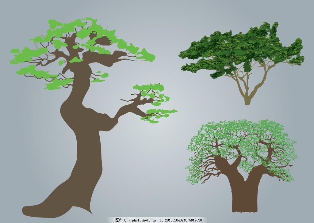 卡通大树 矢量大树 花朵 手绘大树 可爱卡通背景 时尚花纹 碎花 插画