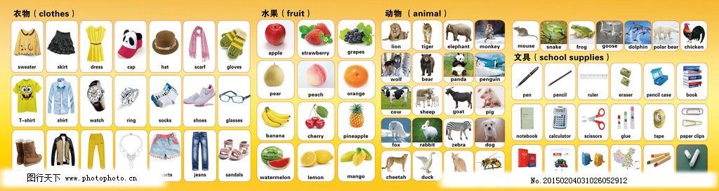 常用英语单词卡 衣物单词 水果英语卡片 动物 文具 学生学英语