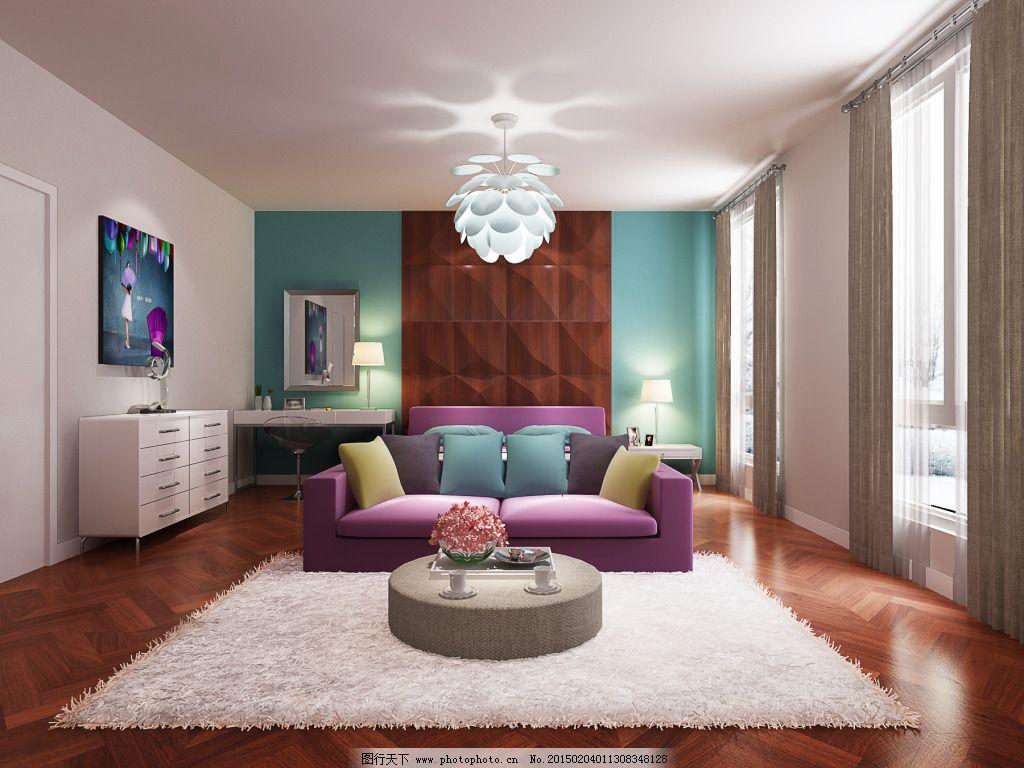 彩色创意卧室_室内设计_装饰素材_图行天下图库图片