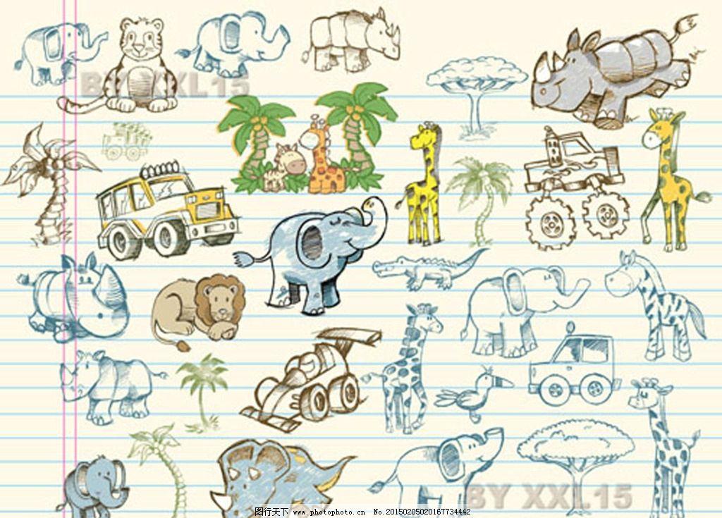 手绘可爱动物图片,线描 长颈鹿 犀牛 树 大象 车-图行