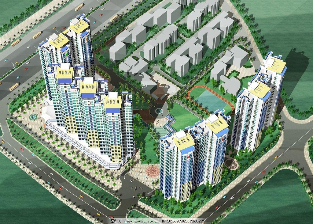 建筑鸟瞰图 社区建筑 社区鸟瞰图 建筑设计 居住区设计 共享作品 设计