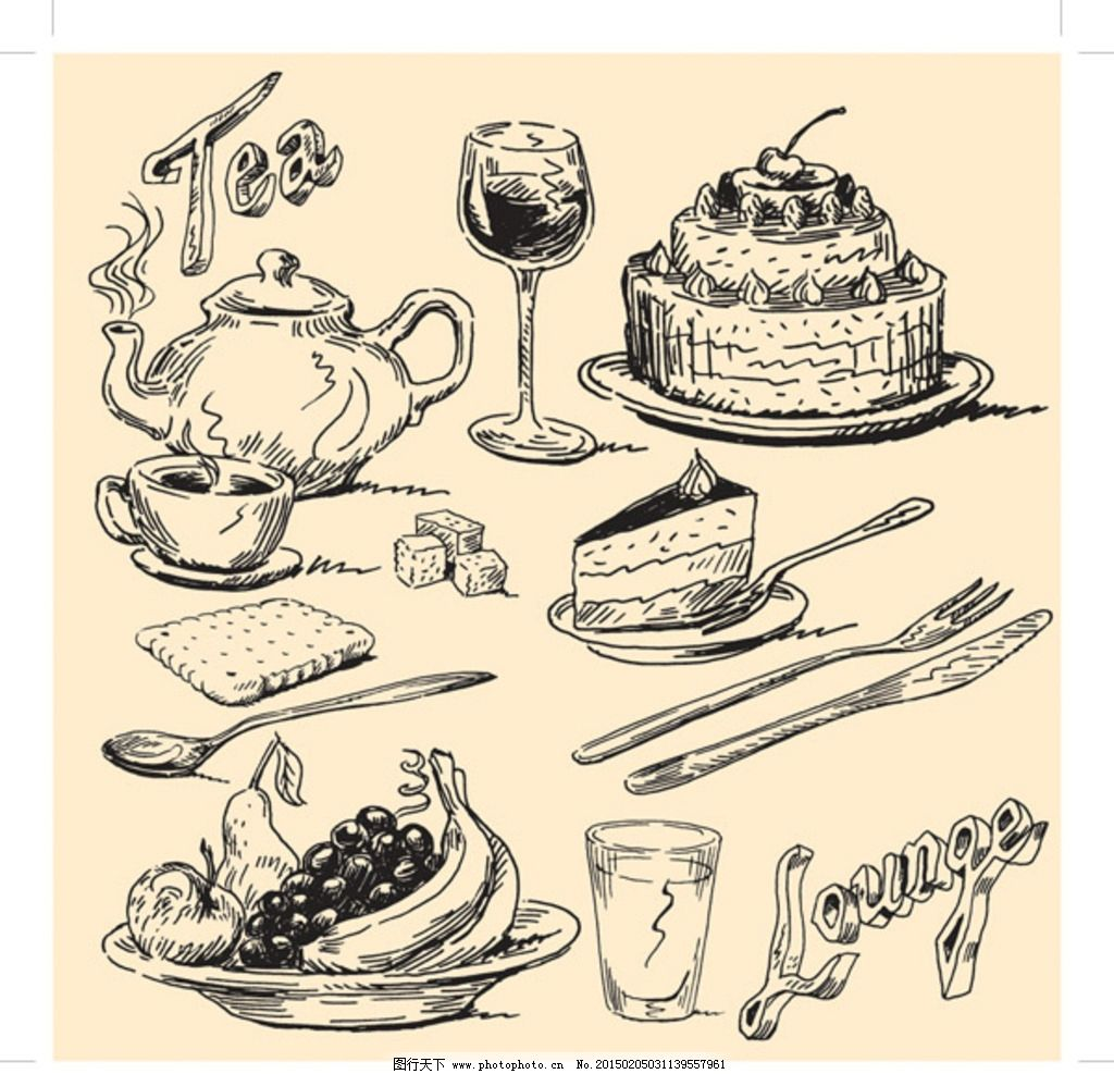 欧式手绘食物 蛋糕 线描 红酒 水果 杯子 饼干 生活百科 餐饮美食