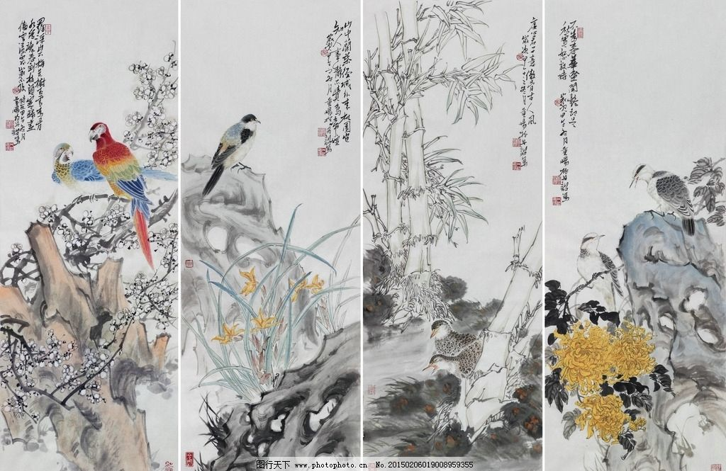 黄旸 黄晓明 国画 工笔 写意 花鸟 鹦鹉 梅花 山雀 兰花 鹌鹑 竹子