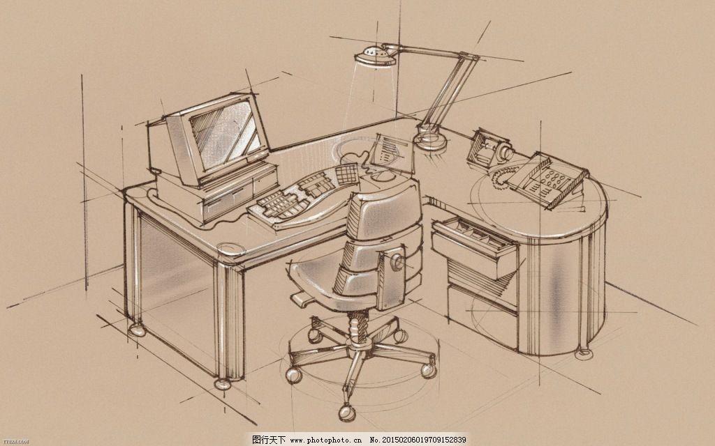 精美手绘办公区域之个人办公用品电脑桌免费下载 办公桌 素描 台灯