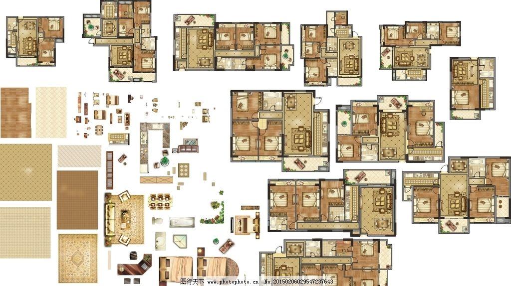 彩色平面图 室内 室内彩色平面 沙发平面图 家具平面图 cdr分层素材 c