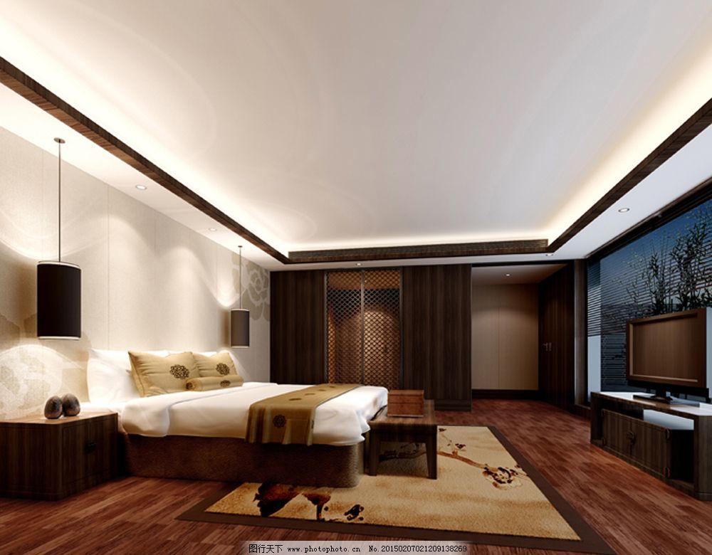 简中式卧室模型图片