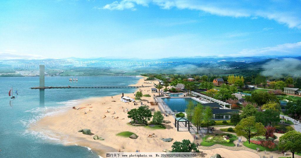 景观设计  大海 人物 沙滩 石头 山峰 云雾效果 凉亭 草地 树木 房屋