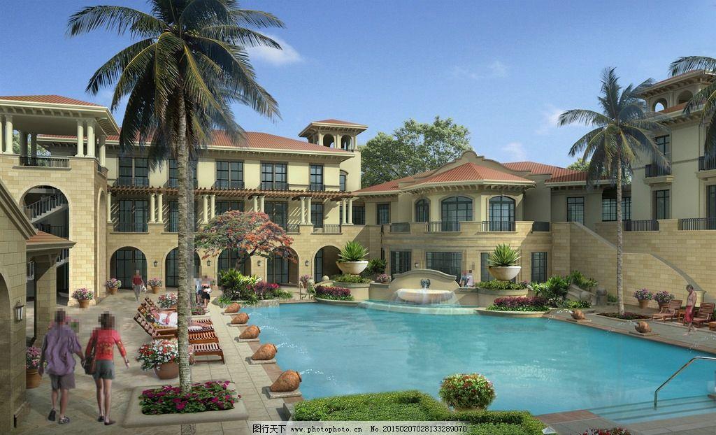 别墅游泳池景观图片,人物 睡椅 鲜花 草地 树木 房屋