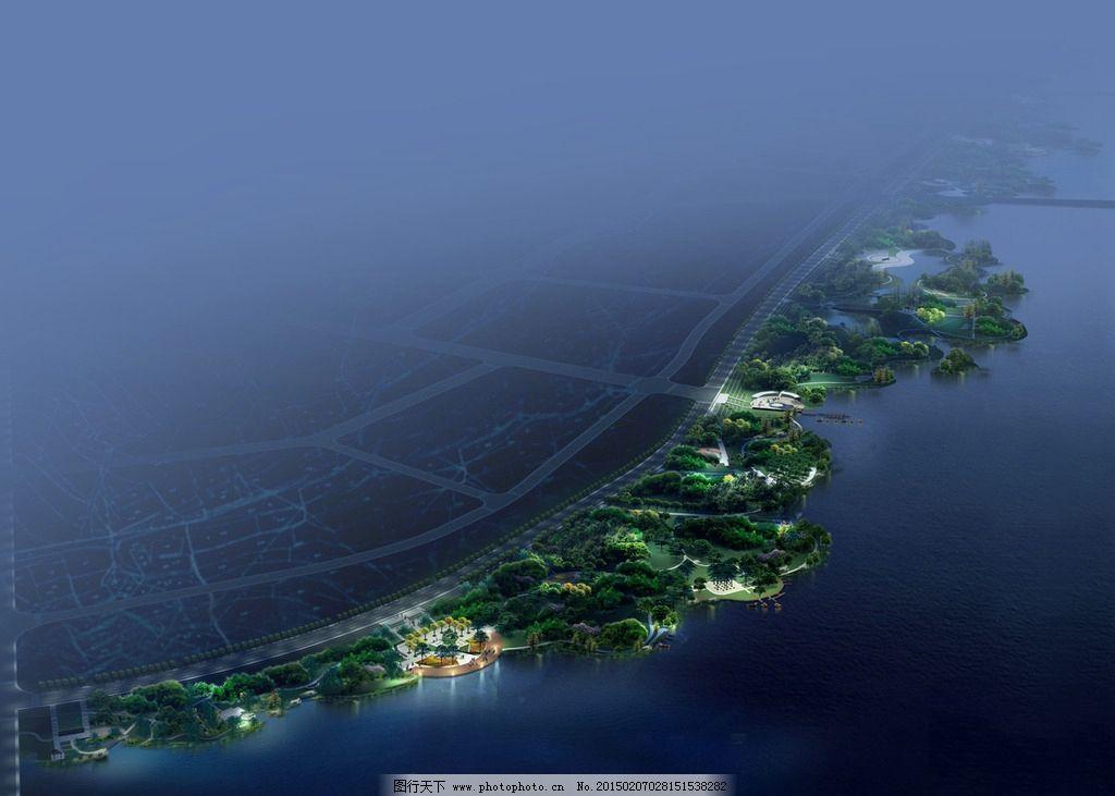 海边休闲景观鸟瞰图图片,大海 人物 马路 灯光效果-图