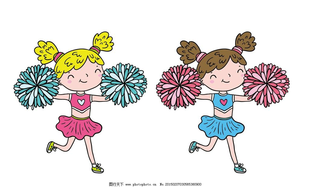 可爱少女 美女拉拉队 美女 舞蹈 矢量拉拉队 卡通拉拉队 欢呼人群剪影