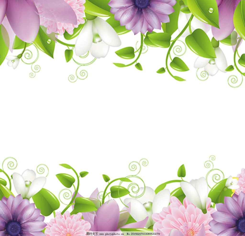 矢量花朵 紫色小花 浪漫背景图片