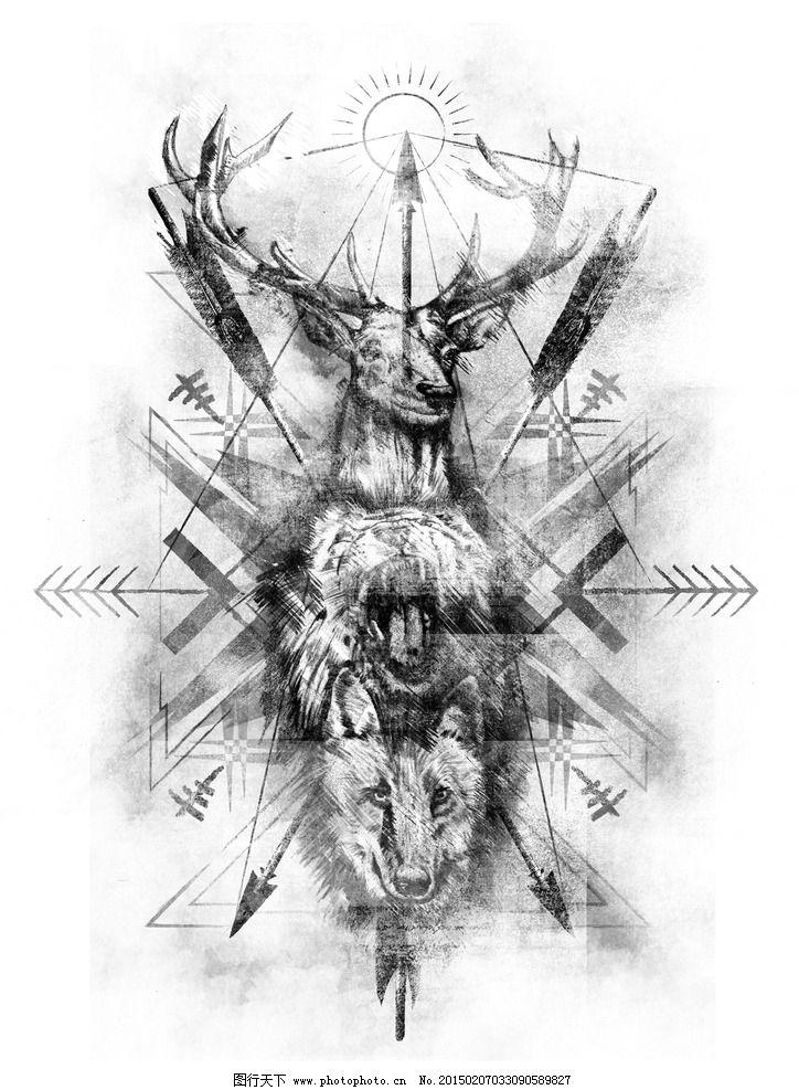 素描效果几何鹿头 虎头 狼头图片