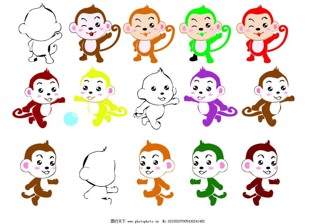 皮球 矢量卡通形象 小标签 小猴子 卡通小动物 可爱小动物 矢量卡通