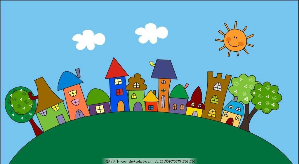 卡通农场 矢量图 cdr 卡通房屋 卡通树木 房子 蓝天 背景 梦幻 高楼