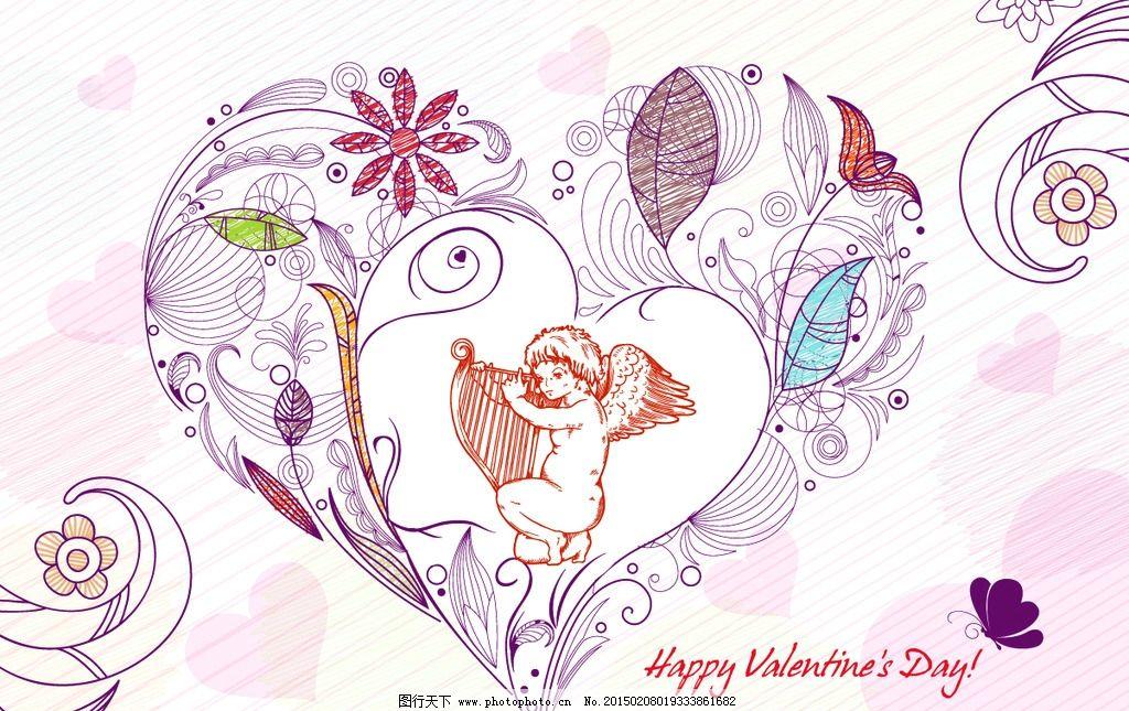 手绘 求爱 红桃心 天使 心型 爱心 图案心 红心 情人节 love 贺卡