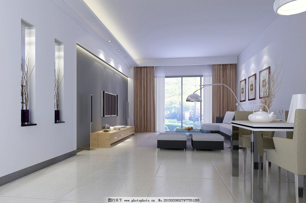 客厅场景图片,室内场景 壁画 沙发 吊灯 桌子 场景-图
