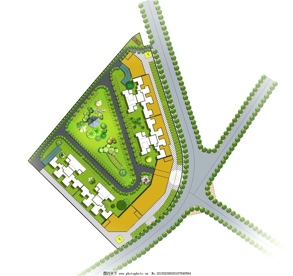 绿化景观平面图图片,马路 草地 鲜花 树木 房屋 建筑