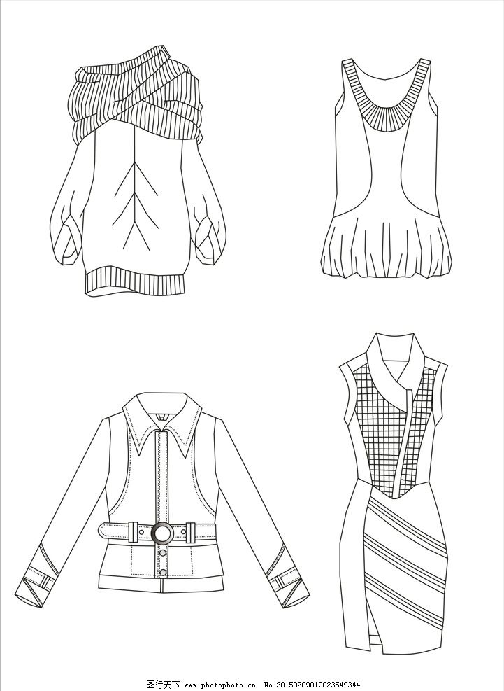 服装 款式图 服装款式图 服装线描图 手绘 线描 cdr 设计 服装设计 线