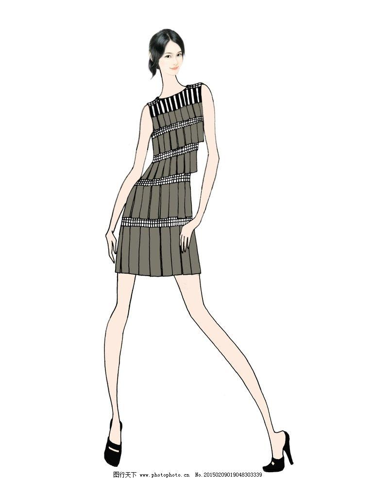 服装效果图 电脑绘图 服装设计 手绘 线描 单线平涂 软件作图