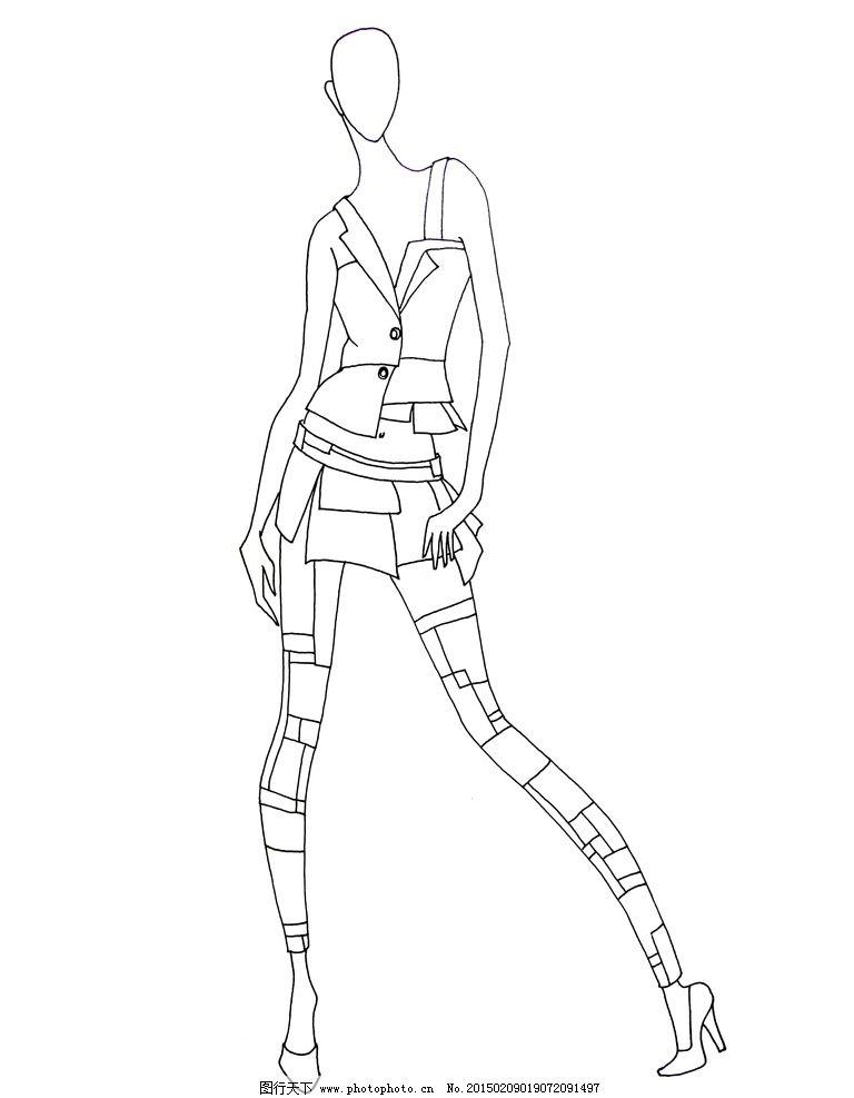 服装线描图 手绘稿 手绘素材 服装设计 线描稿 原创 共享