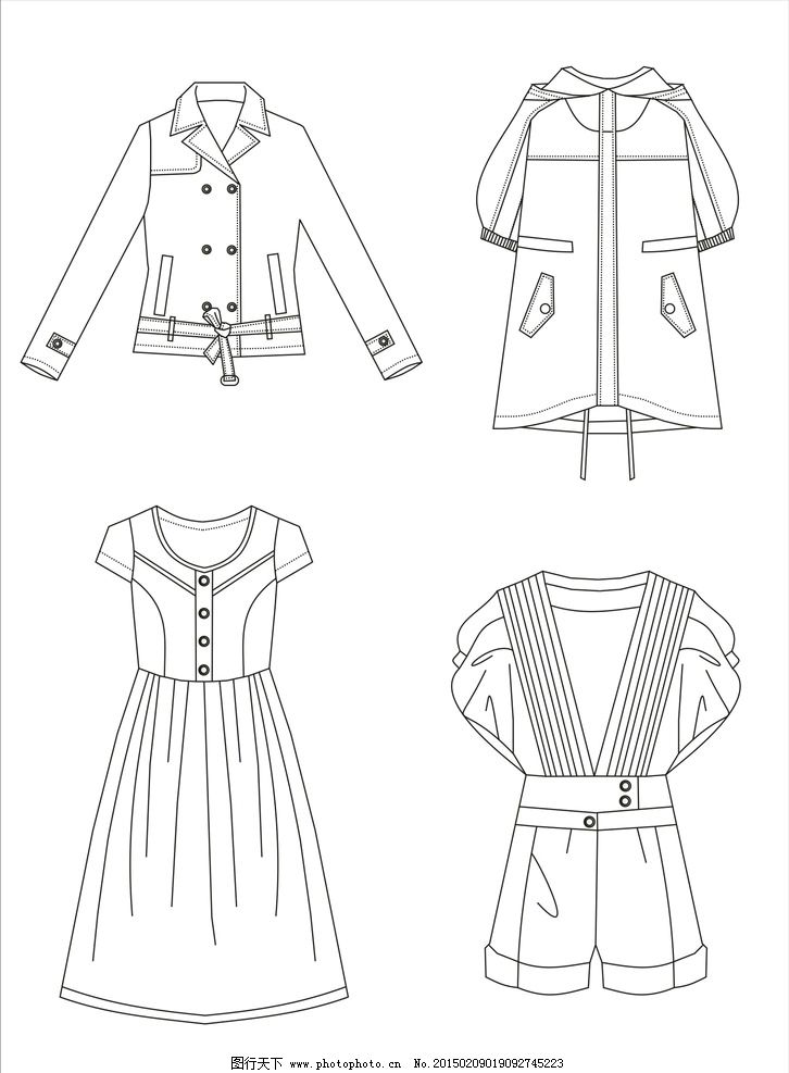 服装 款式图 服装款式图
