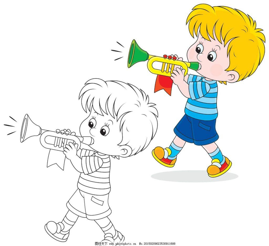 吹号 小男孩 卡通 儿童 号 设计文件 设计 人物图库 儿童幼儿 ai