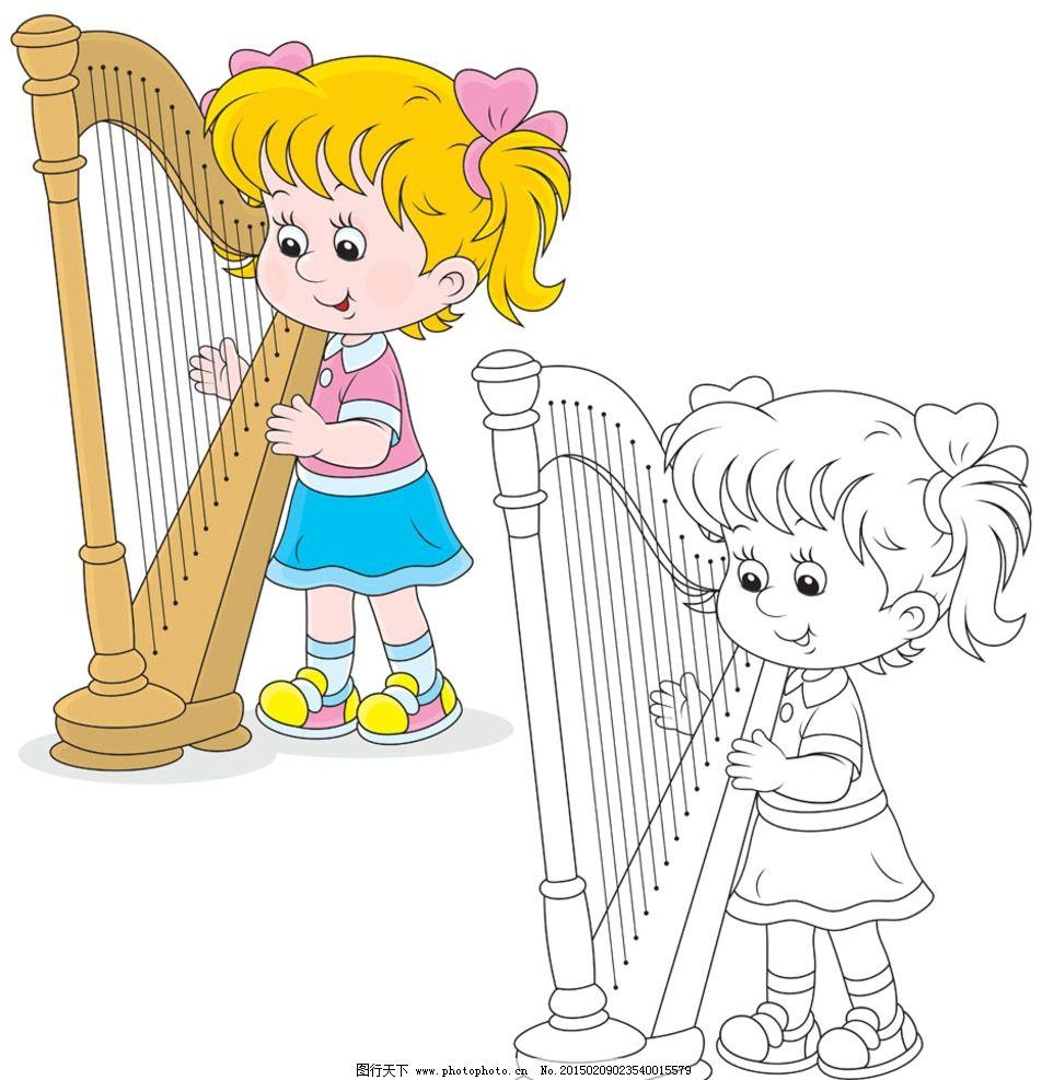 可爱 儿童 琴 音乐 卡通 设计 人物图库 儿童幼儿 ai