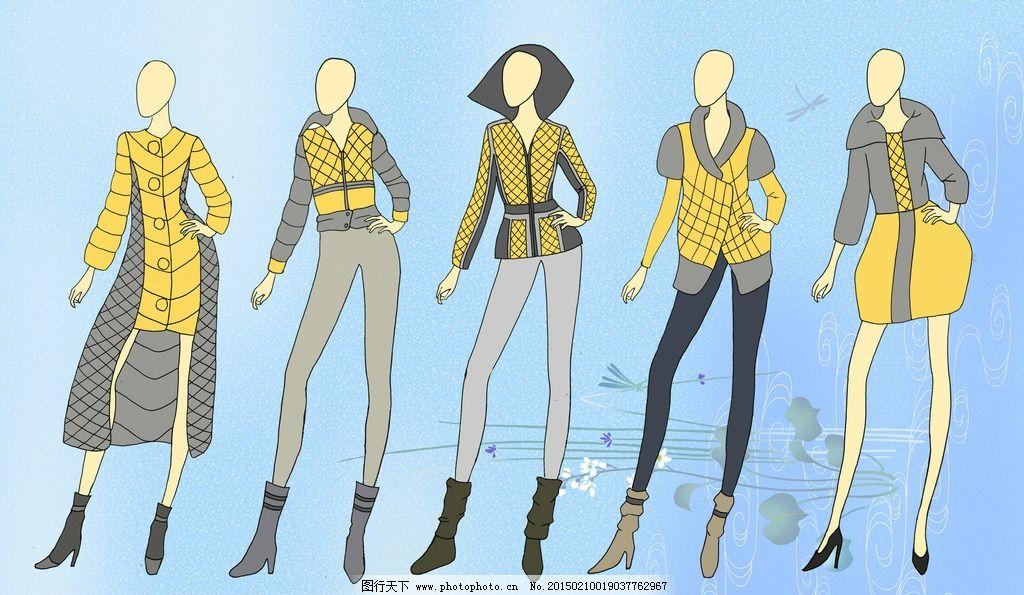 服装效果图 电脑绘图 服装设计 设计 服装 手绘 线描 单线平涂