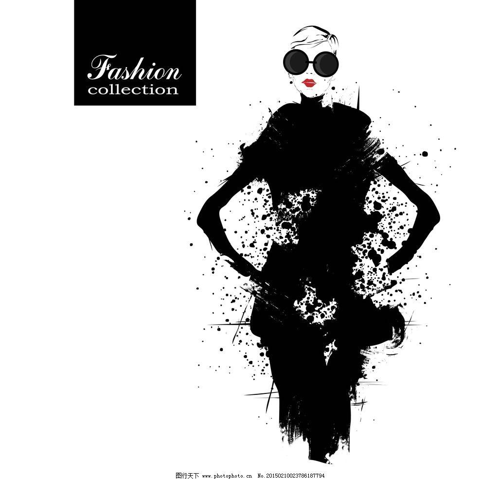 时尚美女 简笔画插图 服装设计 杂志封面 女性插画 手绘少女 墨迹