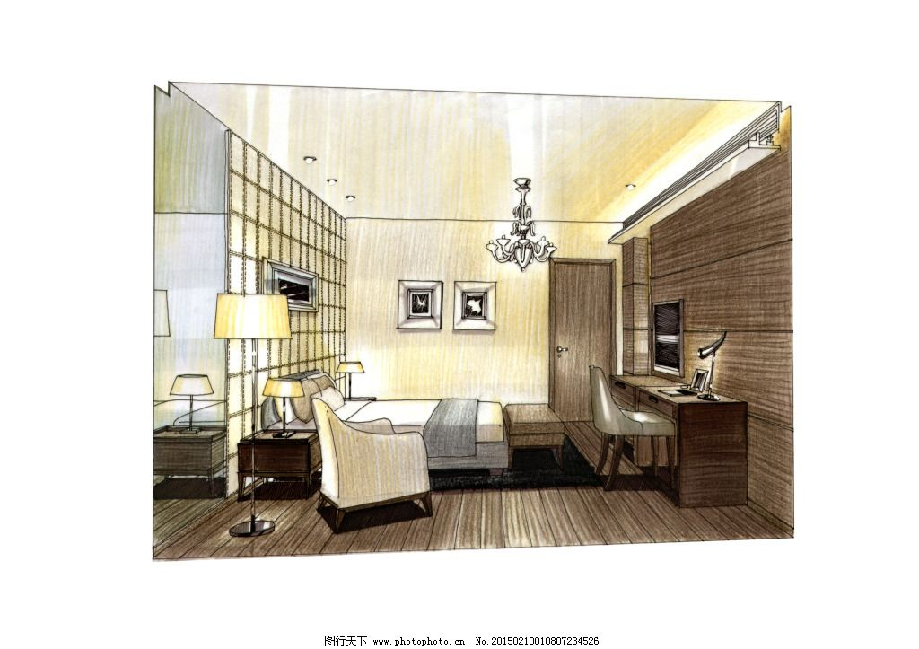 主卧客房透视手绘图片素材 都市建筑 房地产 房屋 房子 建筑家居