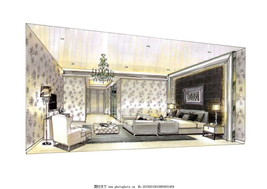 主卧室内空间手绘图片素材