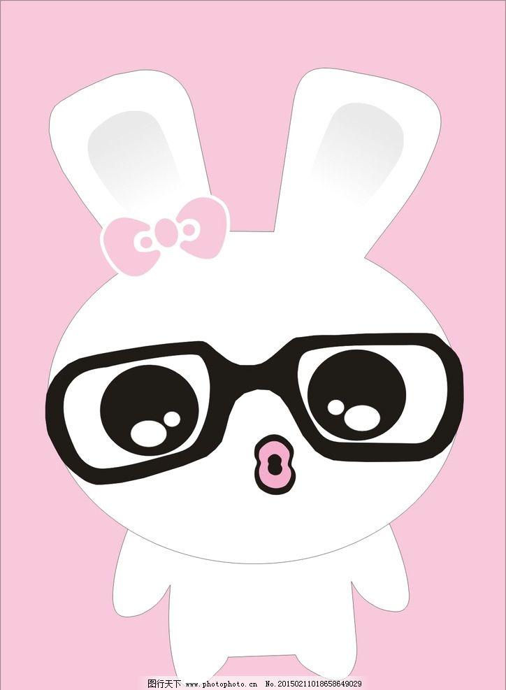 萌萌的兔子 简笔图片