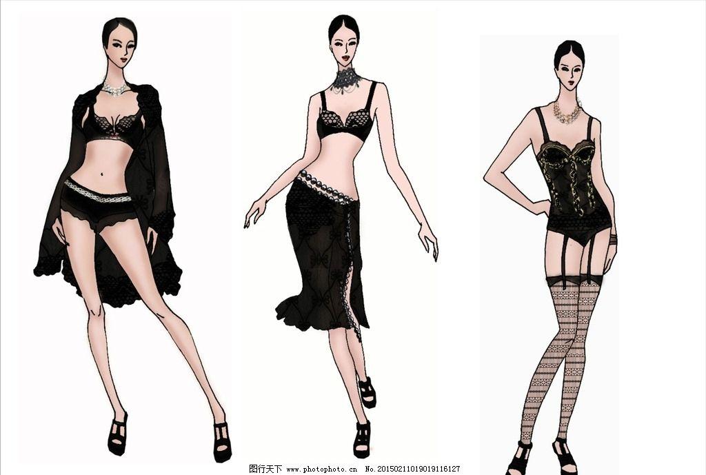 内衣 内衣设计 电脑绘图 服装设计 手绘 线描 单线平涂 效果图