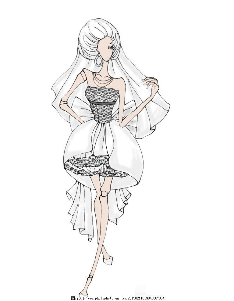 婚纱设计 白色婚纱 电脑绘图