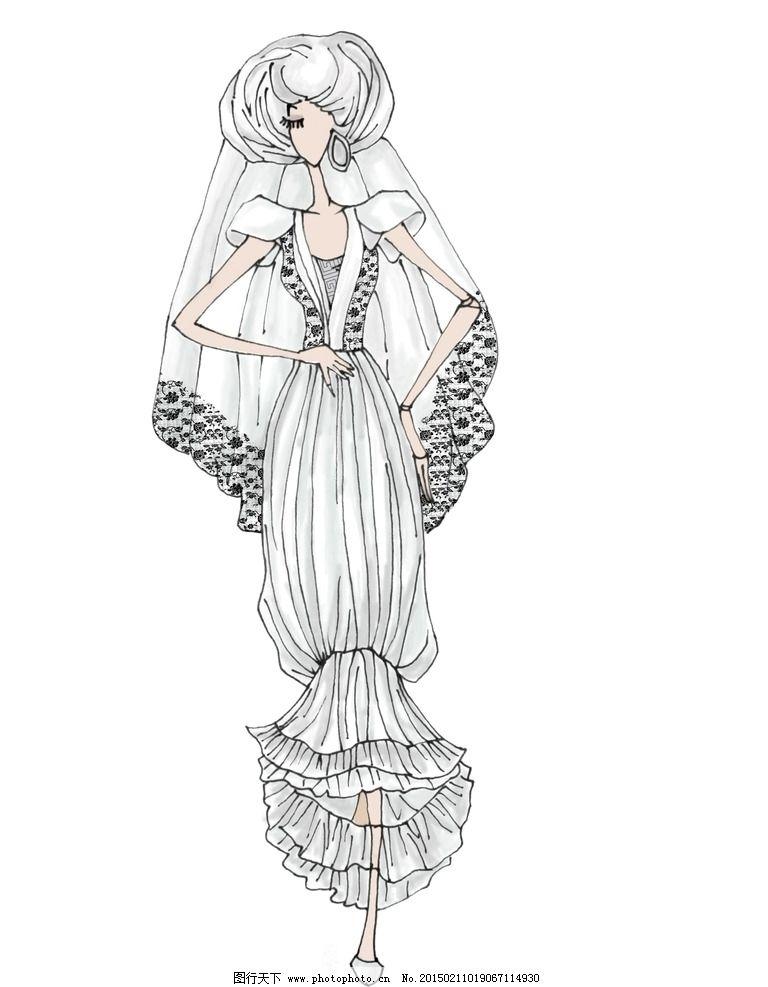 服装设计手绘图纸婚纱