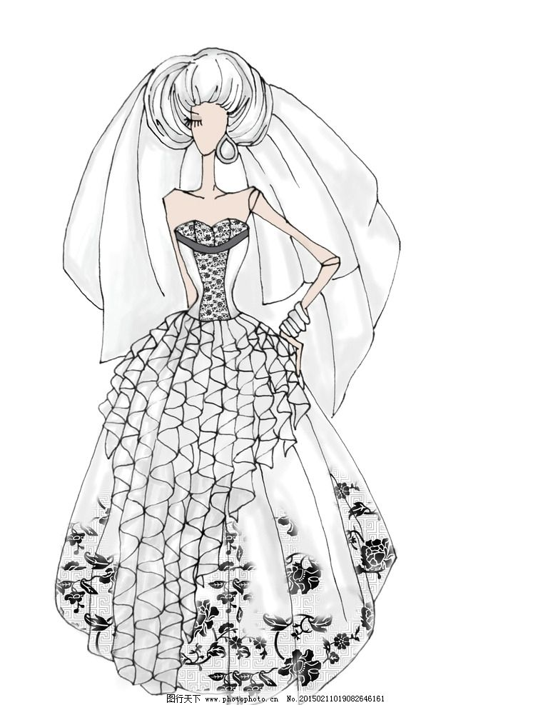 婚纱 婚纱效果图 婚纱设计 白色婚纱 电脑绘图 服装设计 服装 手绘
