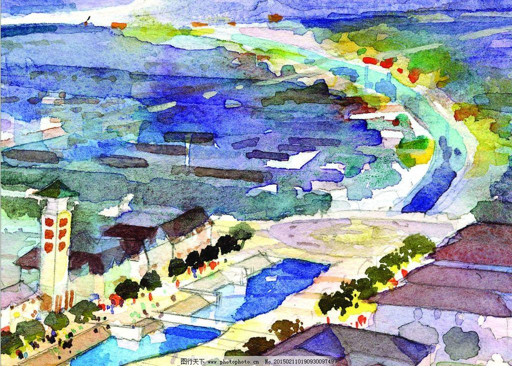 手绘图 社区景观设计 手绘稿 色彩设计 滨河手绘图  设计 文化艺术 绘