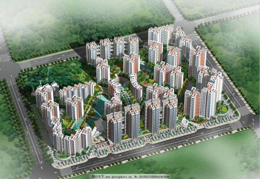 高密度居住区景观设计鸟瞰图 空间设计 鸟瞰图设计 地形设计 共享作品
