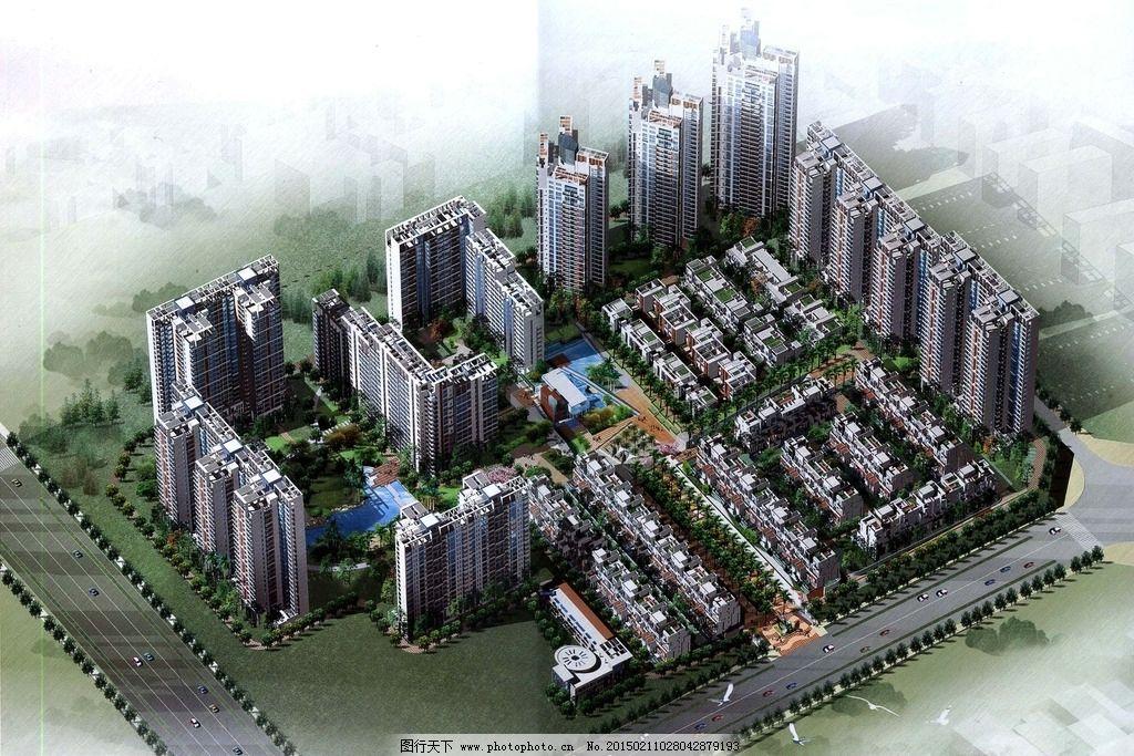 居住区建筑鸟瞰图设计图片