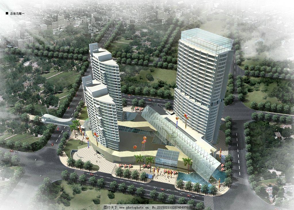 商业综合体建筑鸟瞰图设计图片