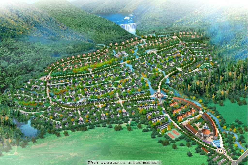 别墅鸟瞰图设计 别墅设计 景观设计 居住区设计 共享作品