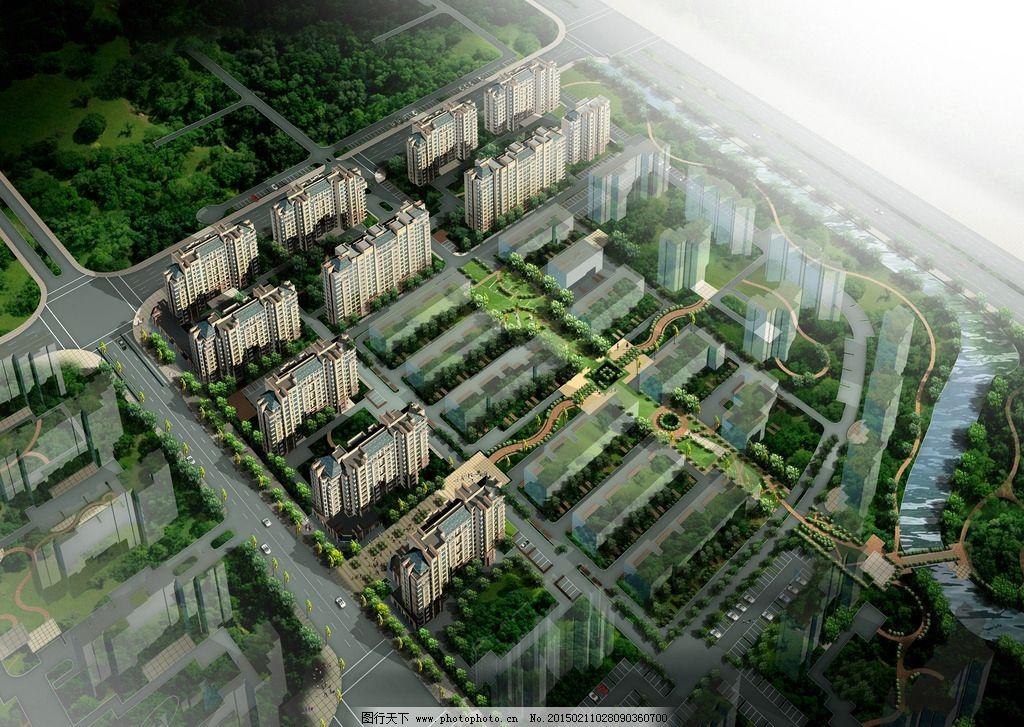建筑鸟瞰图设计 居住区设计 空间设计 景观设计 共享作品