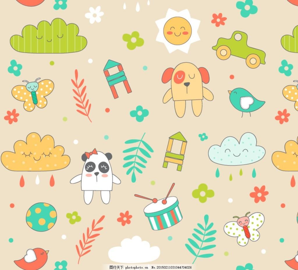 卡通动物元素无缝背景矢量素材 动物 小狗 熊猫 云朵 太阳 蝴蝶 树叶
