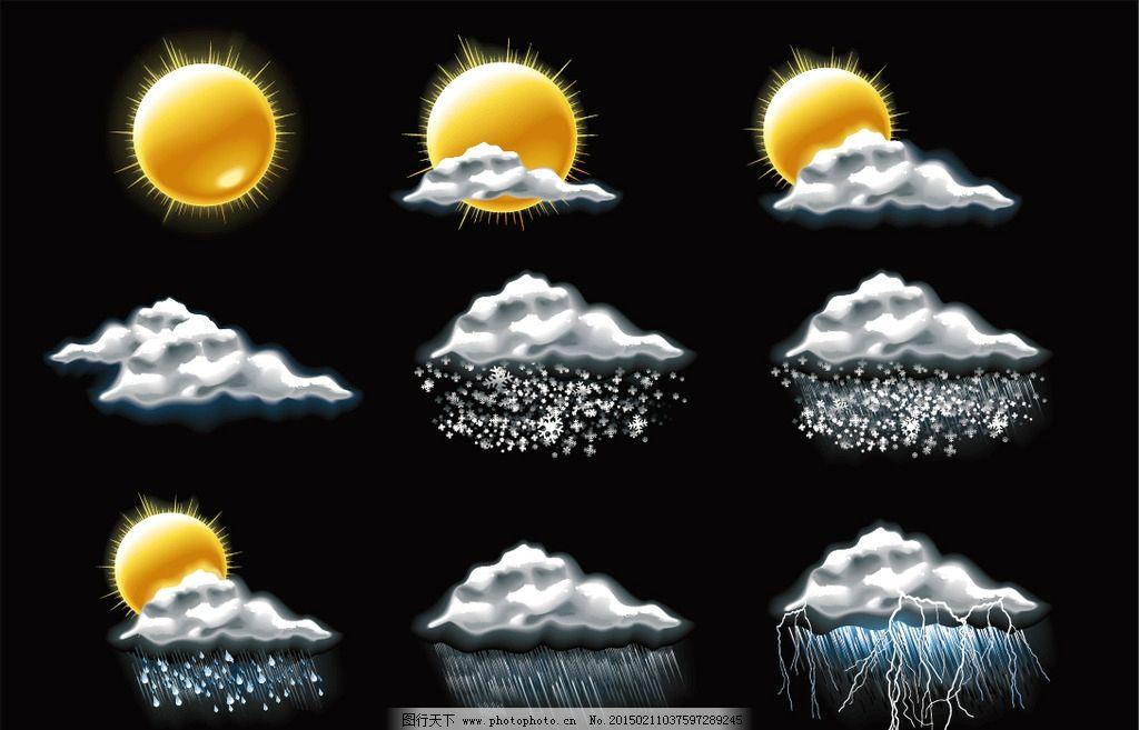 天气图标 天气预报 晴阴 云彩 多云 雨 温度 太阳 阵雨 矢量