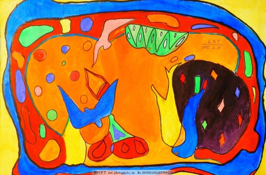 装饰画 色彩 工艺 手工 风景 树 海 鸟 学生作品 设计 文化艺术 绘画