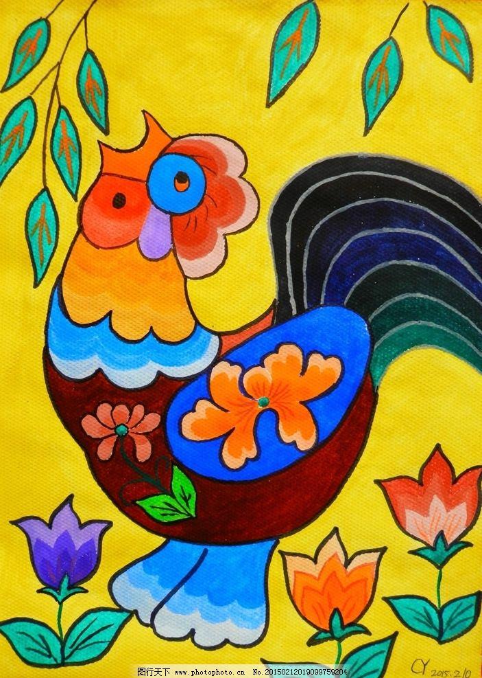 装饰画 水粉画 手绘 鸡树 精品