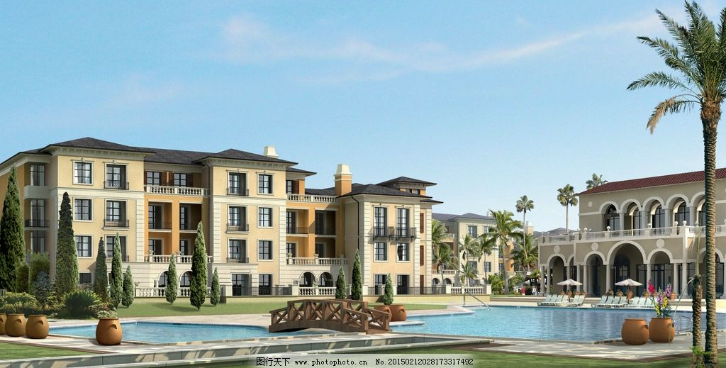 别墅游泳池景观设计 木桥 睡椅 陶罐 鲜花 草地 树木 房屋 建筑物