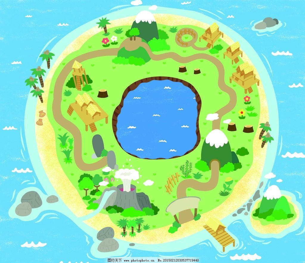 地图 小岛 卡通 环境 可爱地图 设计 动漫动画 风景漫画 300dpi psd